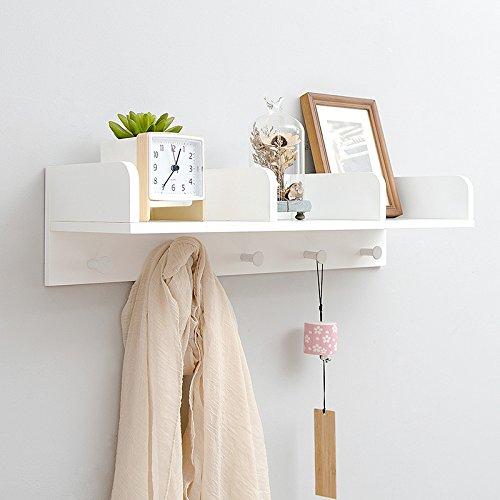 NaNa Kreative Wandregal Wandbehang Lagerung Partition Board Massivholz Bambus Wand Kleiderständer für Wohnzimmer 63 * 15,1 * 20 cm (Color : White)