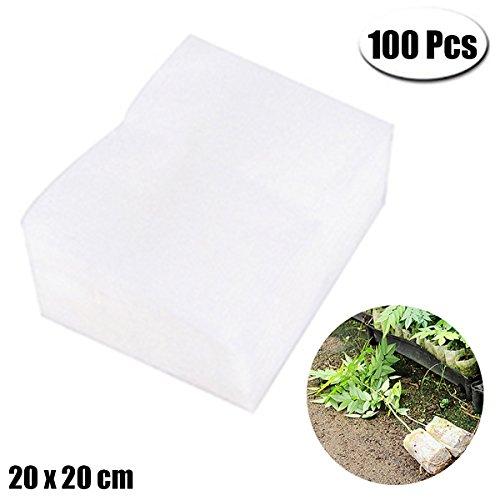Foto de 100 bolsas de guardería biodegradables sin tejido, bolsas de cultivo para plantas de tela, bolsas de semillas de lactancia, bolsas de cultivo (20 x 20 cm)