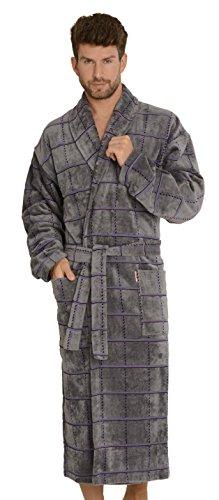 FOREX Lingerie kuscheliger und hochwertiger Frottee-Bademantel Herren-Mantel, grau kariert, Gr. 4XL (Kariertes Weihnachts-pyjamas)