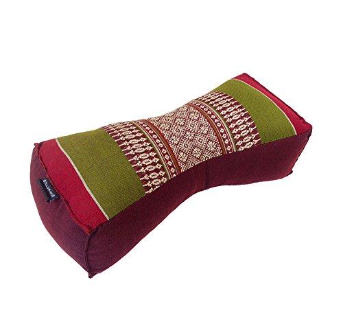 Collumino Traditionelles, chinesisches Nackenstützkissen, Kapokfaser, für Yoga, Massage oder Entspannung Green, Burgundy