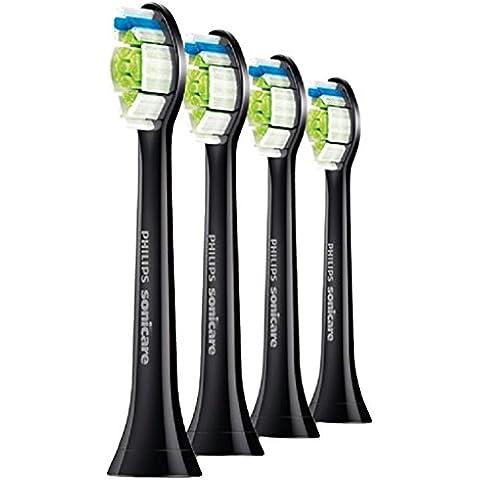 Philips Sonicare DiamondClean HX6064/33 - Set de 4 cabezales estándar para cepillo de dientes eléctrico, color negro
