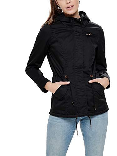 ONLY Damen Parka Übergangsjacke Kurzmantel Kapuzenjacke (40 (Herstellergröße: L), Black)