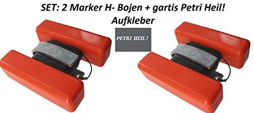 Set: 2 Stück H Makierungsbojen, Floating Marker incl 25m Leine und U-Gewicht + gratis Petri Heil! Aufkleber