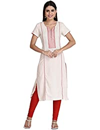 Indi Dori Women Cotton Cream Lined Print Yoke Short Sleeve Kurti