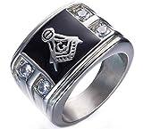DIBMXC Anillos de Acero Religiosa AG masónico Blanca circón Diamante Negro Esmalte Inoxidable para Hombre