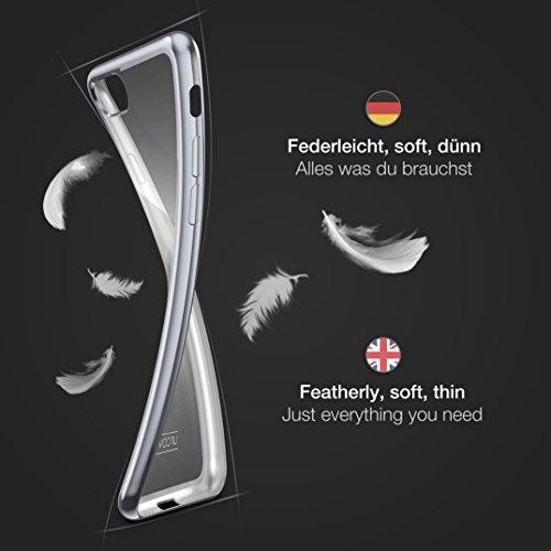Urcover® Apple iPhone 7 Plus Handyhülle Gold   TPU Silikon Schutzhülle durchsichtig   Spiegelrand Hülle Transparent   Slim Cover Tasche   dünne Schale   Back-Case flexibel   Smartphone Zubehör Silber
