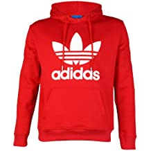 Para hombre Adidas Originals Logo sudadera con capucha jersey sudadera con capucha Top, Niño hombre, Red/White, mediano