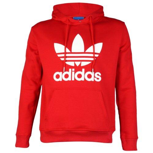 Adidas Originals Trefoil Logo con cappuccio felpa con cappuccio Top, bambino uomo, Red/White, M