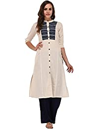 Pistaa By Off White Solid Embroidered Kurta With Plus Size