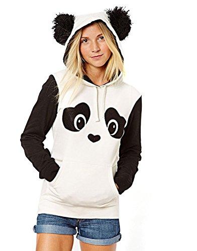 Minetom Damen Sweatshirt Pullover Fleece Jacke mit Öhrchen Panda ( DE 36 )