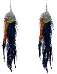 Lureme® Native American Women Joyería 3 Colors Pavo real Pluma Pendant Hook Dangle Aretes (02003504)