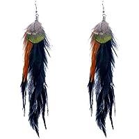 Lureme® Native American Women Gioielli 3 Colors Pavone Piuma Pendant Hook Dangle Orecchini (02003504)