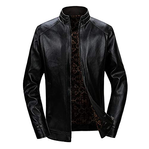 1c69a22fd2b4 Men s Winter Thickened Thermal Short Fleece Fashion Turn-Collar Leather  Coats by LuckyGirls