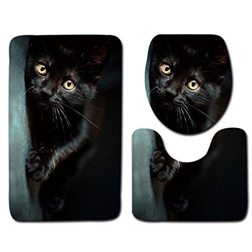 Rollsnownow Einfache Mode 3D Stereoskopische Nette Katze Muster Druck Bad Dreiteilige Badezimmer rutschfeste Matte (Badematte + Sockel Mat + Toilettensitz Abdeckung Matte)