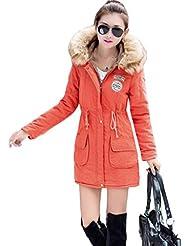 Smile YKK-Chaqueta para mujer abrigo invierno caliente chaqueta con capucha-Parka Cuello Pelo Sintético caliente
