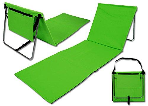 Team 101 faltbare Strandmatte Strandliege Beach Mat mit Rückenlehne grün