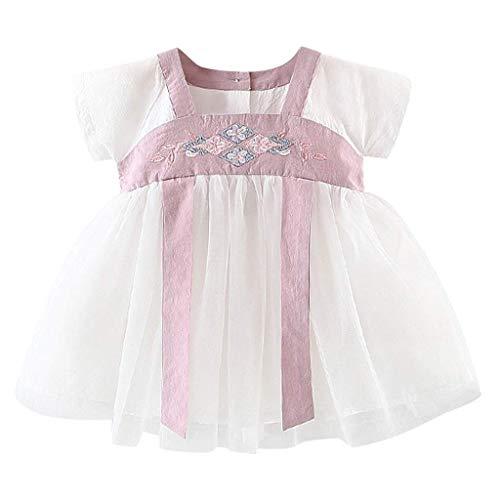 KIMODO Baby Mädchen Gesticktes Kostüm Antike Han chinesische Kleid Partykleid Urlaub Kleinkind Prinzessin Tüllkleid (Für Halloween-kostüme 11-12 Jährige Mädchen)