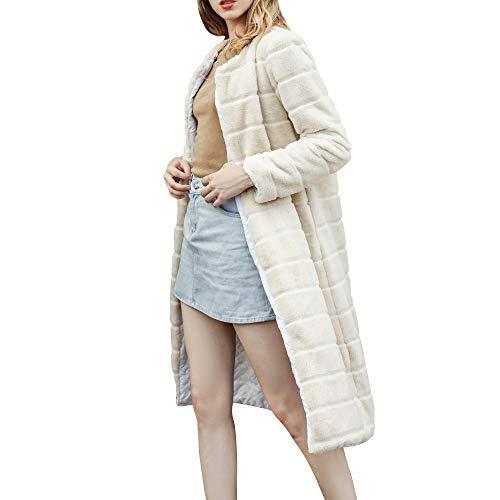 Oliviavan Damen Jacke,Frauen Casual Solid Color Kerb Kragen Herbst Winter Faux Mantel Pelzmantel Outwear Bluse Kunst fur Warm