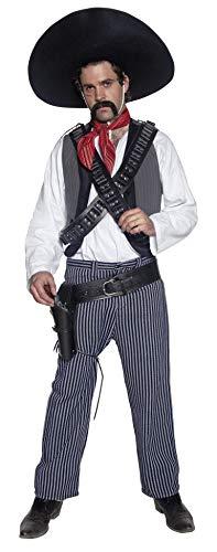 Smiffys Herren Mexikanischer Bandit Kostüm, Hemd, Weste, Hose und Halstuch, Größe: M, 34292