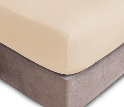 ARIZONE Spannbettlaken–Extra tief 40,6cm/40cm tief besten betttuches 15Farben., 50 % Baumwolle, 50 % Polyester, Beige, Doppelbett Deep Teal Kissenbezüge