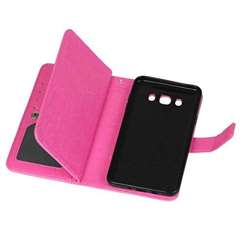 Samsung Galaxy J5 2016 J510 Fall Flip Folio Case Solid Farbe Premium Synthetik-Leder-Kasten-Standplatz-Mappen-Kasten-Kasten mit 9 Karten-Bargeld-Slots für Samsung Galaxy J5 2016 J510 ( Color : Brown , Pink