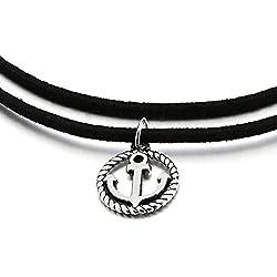 Dos Hileras Negro Collar de Gargantilla Choker Collar de Mujer Niñas, Círculo Marina Ancla Charm Colgante