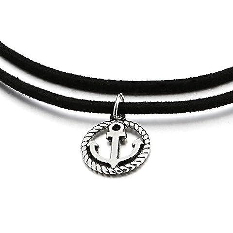 Zweireihige Schwarz Choker Halsketten Halskette für Damen Mädchen mit Kreis Marine Rad Anker Charm Anhänger