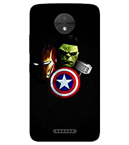 For Motorola Moto C green man, nice man, man in mask, hammer, shield, black background Designer Printed High Quality Smooth Matte Protective Mobile Pouch Back Case Cover by BUZZWORLD