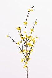 artplants Künstlicher Forsythienzweig IHRA, 40 Blüten, gelb, 90 cm - Kunstzweig Forsythia/Goldglöckchen künstlich