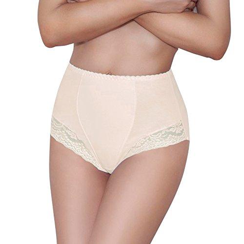 Damen figurenformend Miederslip mit Bauch-Weg-Effekt Stark Formend Miederpants Miederslip Damen Unterwäsche Große Größen (L, Beige)