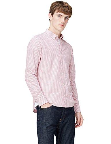 T-Shirts Herren Schmales Gestreiftes Oxford Hemd, Rosa (Pink 301), Large (Button-down-gestreiftes Oxford-hemd)