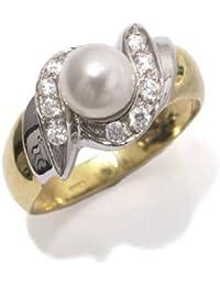 Gioie Bague Femme en Or 18 carats Blanc/Jaune avec Perle de Culture et Zircon Blanc