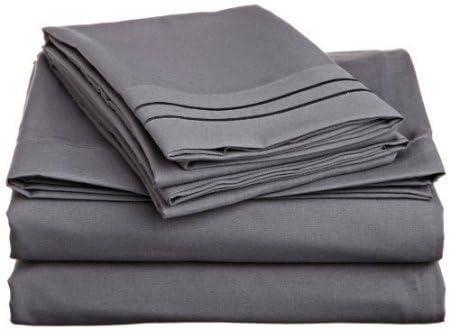 Dreamz Letti Cotone 4 Egiziano 400 Fili 4 Cotone Bed Sheet Set (Deep Pocket  76,2 cm) UK Super King Dimensione, Elefante Grigio Grigio Scuro Solid 100% Cotone 400 TC, Set di Biancheria da Letto 6fa4d6