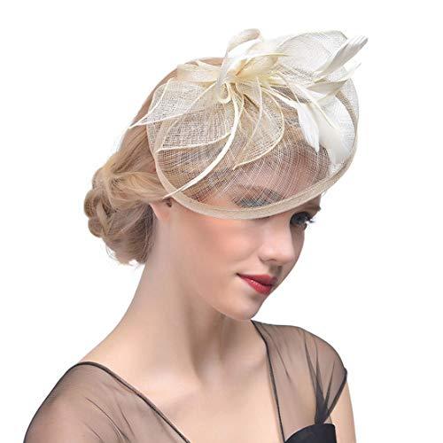 TOBEEY Fascinators für Frauen Sinamay Vintage Elegante Fedora mit Feder Pillbox Hochzeiten Kirche Hüte