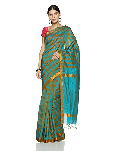 Gocoop Silk Saree With Blouse Piece (GCRTHSCSAA0107_Torquise Blue_One Size)