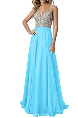 Ivydressing Damen Elegant V-Ausschnitt Traeger A-Linie Steine Promkleid Festkleid Ballkleider Abendkleid Blau