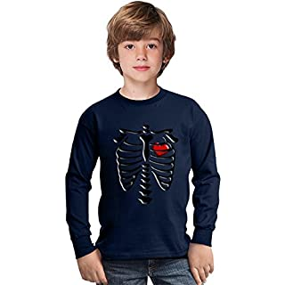 Skeleton Heart Amazing Kids Long Sleeved Shirt by Benito Clothing - 100% Cotton- Ideal For Active Boys-Casual Wear - Perfect For A Present Unisex 9-11 years