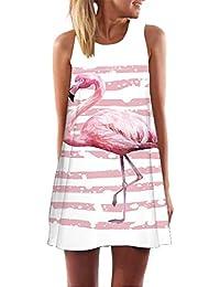Damen Boho Strand Minikleid Freizeit Party Ärmellos Longshirt Tunikakleid 34-50