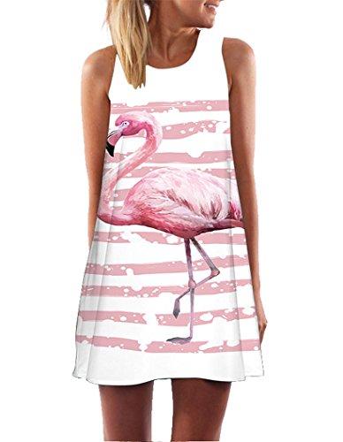Ocean Plus Damen Casual Top Freizeit Flamingo Blätter Sommer Ärmellos Kleider Ohne Arm Westenkleid Partykleid Sommerkleid Minikleid Strandkleid (S (EU 34-36), Flamingo Rosa Streifen)