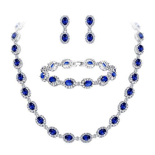 Ever Faith Damen CZ Hochzeit Braut Oval Teardrop Halskette Ohrringe Armband Set Blau ()