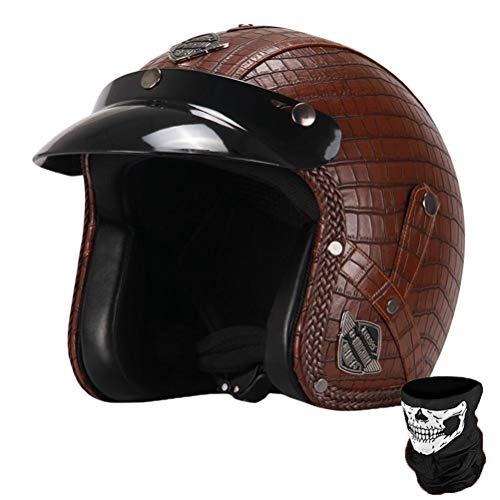Erwachsene Jethelme Retro Exquisite Komfort mit abnehmbaren Sicherheitskappen Flut Motorrad Racing Elektro Motorrad Männer Frauen Universal Fahrradhelm 57-62cm