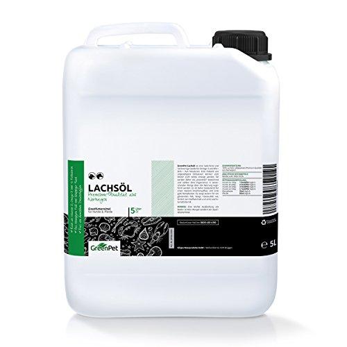 GreenPet Aceite de salmón 5 Litros para Perros, Gatos y Caballos, ácidos...