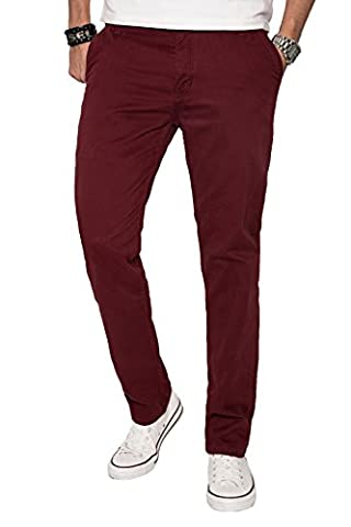 A. Salvarini Herren Designer Chino Stoff Hose Chinohose Regular Fit AS016 [AS016 - Bordeaux - W29