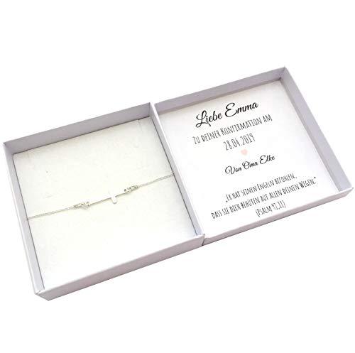 Konfirmationsgeschenk Mädchen personalisiert, Kreuz Armband 925 Silber, Geschenkidee Konfirmation