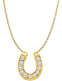 CZ Accented Lucky Horseshoe Pendant Necklace 14K Gold