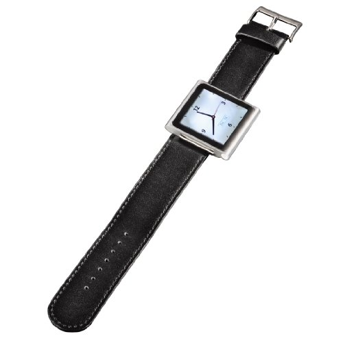 Hama Leder Uhrenarmband für Apple iPod nano 6G schwarz