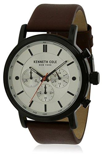 Kenneth Cole Homme Bracelet Cuir Marron Quartz Cadran Argent Montre KC50502001
