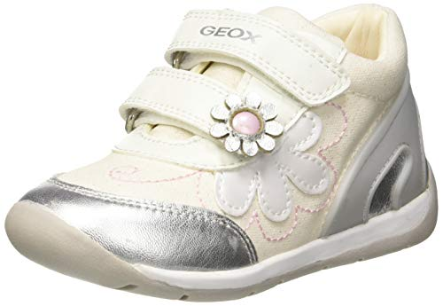 Geox Baby Each Girl, Zapatillas para Bebés, Blanco White/Silver C0007, 24 EU