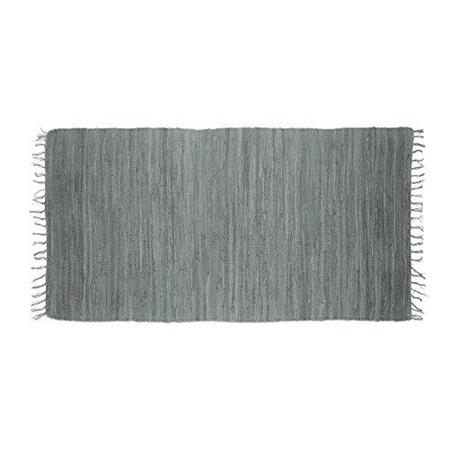 Relaxdays Flickenteppich grau 70 x 140 cm mit Fransen 100 {4d33ed8f741cb97a0170db9b18e71c8177c1f485a90b076bd44952201a393586} Baumwolle, einfarbig, Fleckerlteppich, anthrazit