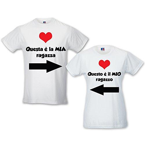 Coppia Di T Shirt Love You and Me Mio E Mia BIANCHE